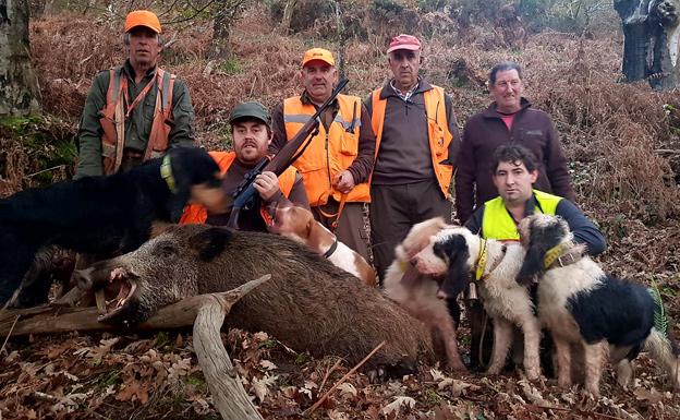 Cazadores, perros y escopetas, con el navajero de 90 kilos abatido por Ricardo Díaz Fernández en el lote cangués de Següencu. :: E. C.