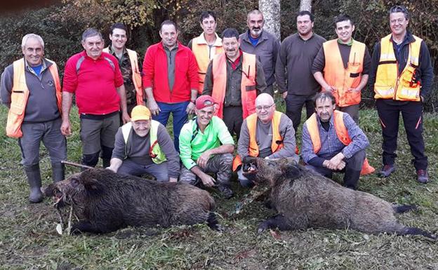 Dos navajeros de 120 y 90 kilos abatidos por cazadores piloñeses en Cereceda. :: E. C.