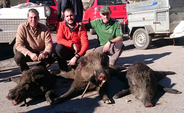 Javi, Pablo y Marcos, con suidos de 60, 90 y 40 kilos. :: R. Ruea