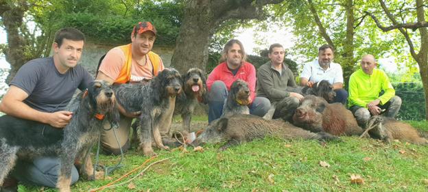 Monteros de la cuadrilla llanisca de Manuel García Granda, que se nutre de excelentes perros de la raza grifón azul de Gascuña. :: e. c.