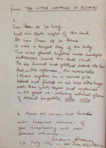 Manuscrito de Heany, de su 'Cantares de Asturias'.