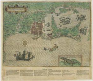 Dibujo del cerco de la flota del pirata Drake a Cartagena de Indias.